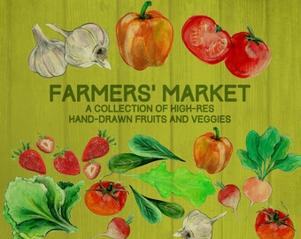 Farmers' Market Hand-Drawn Produce Illustrations