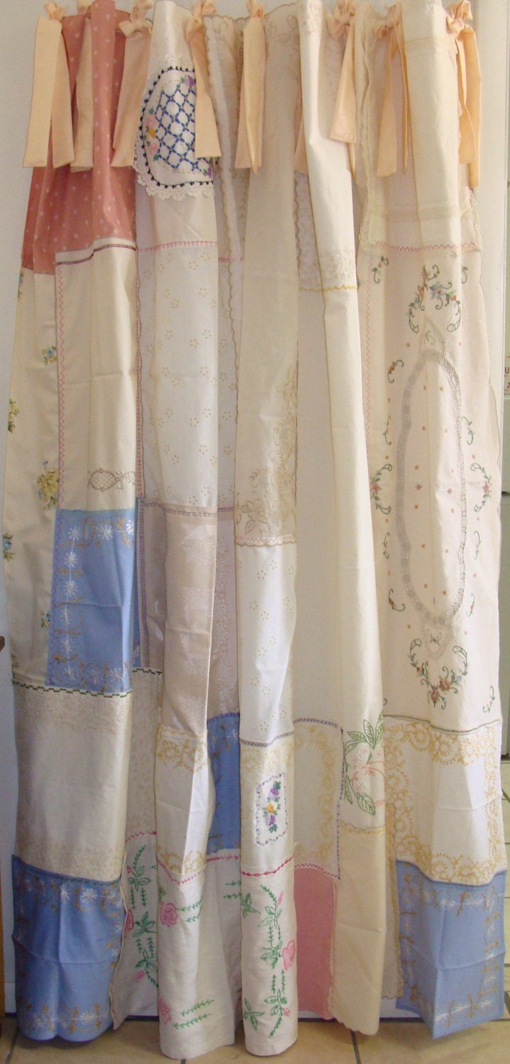 Shabby Chic Shower Curtain Made With Vintage Embroidery And