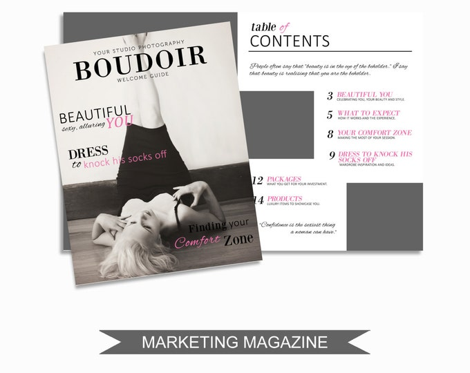 Boudoir Magazine Template for Photographers - 16 Page Studio Welcome Guide - Digital Price List - Pricing Templates - B001