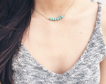Turquoise chain choker necklace