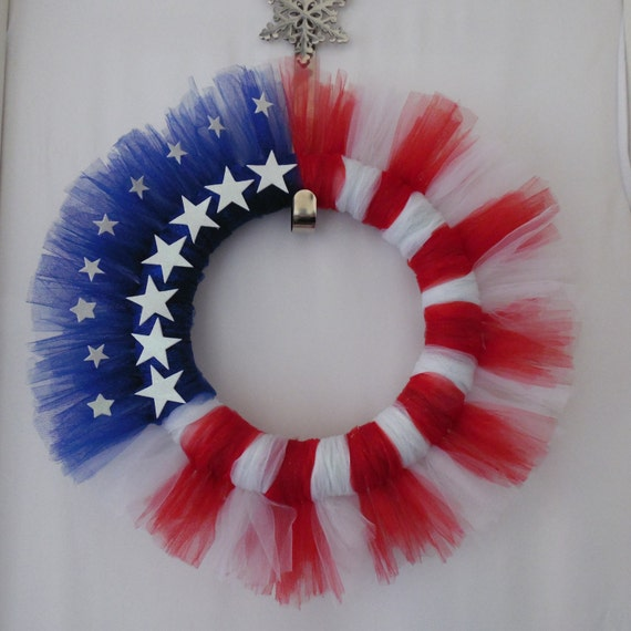 All American Tulle Wreath 4th of July Wreath by SwaymeVegas