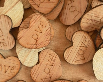 """150 Love 1"""" Wood Hearts, Wood Confetti Engraved Love Hearts, Rustic Wedding Decor, Table Decorations, Small Wooden Hearts"""