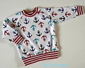 Anchors away!  Crisp and colourful long sleeve tee in organic cotton jersey