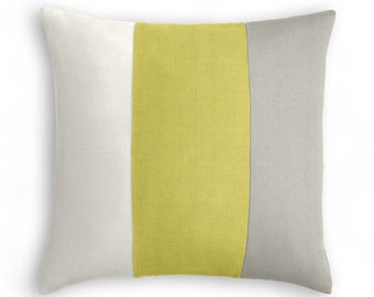 """Ivory, Lime Green, Light Grey Color Block Throw Pillow Cover.  Three equal-sized color block bands.  18X18 SQ"""""""