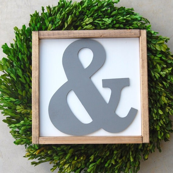Large Wooden Signs Home Decor: Large Ampersand Cutout Framed Wood Sign & Home Decor
