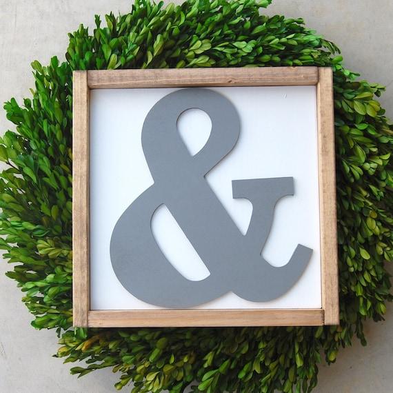 large ampersand cutout framed wood sign amp home decor
