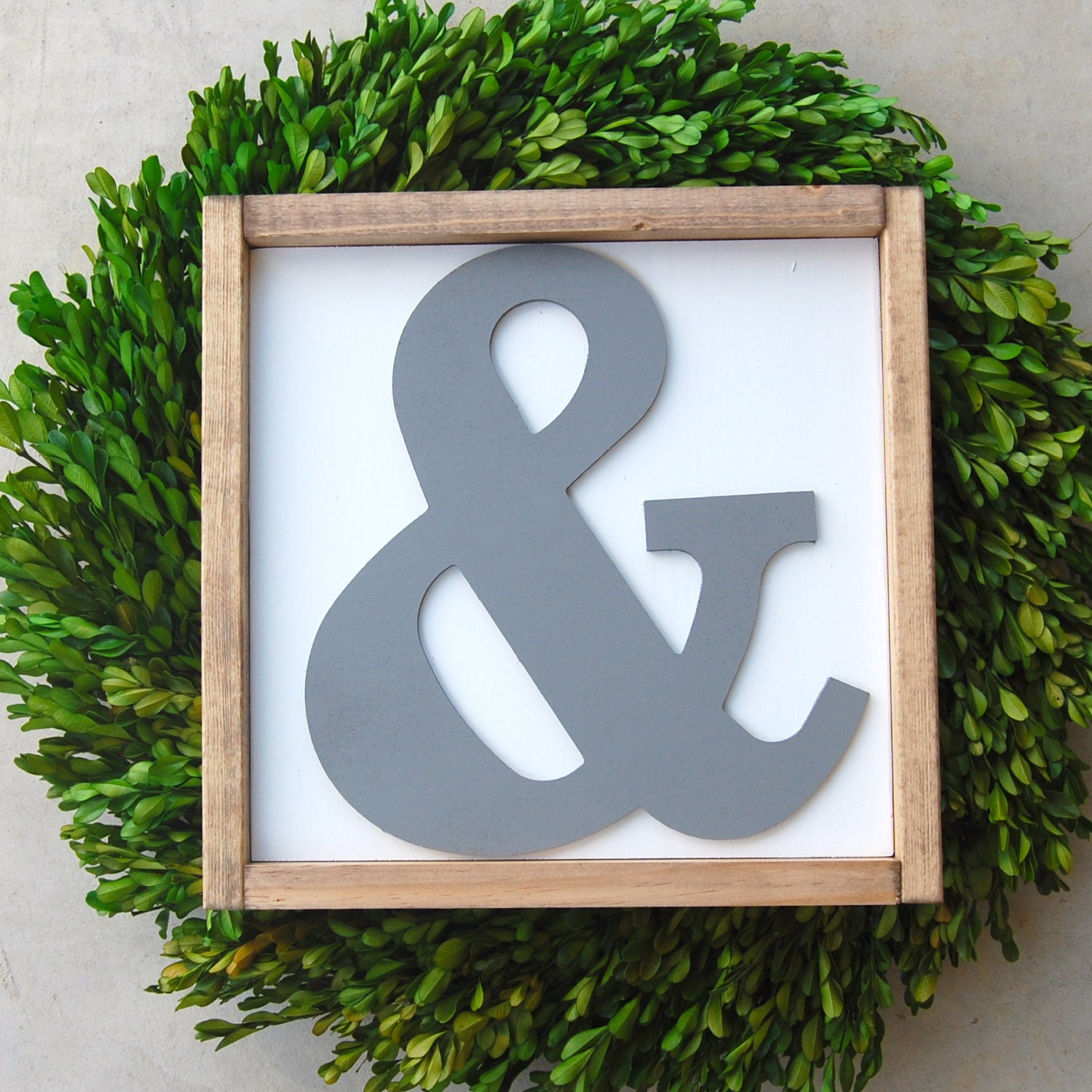 Large ampersand cutout framed wood sign home decor for Ampersand decor