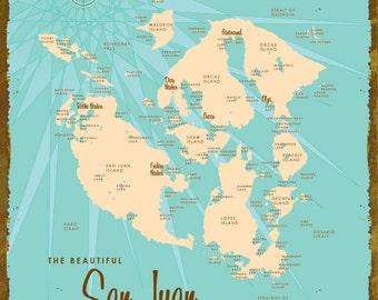 San Juan Islands, WA Map - Canvas Print
