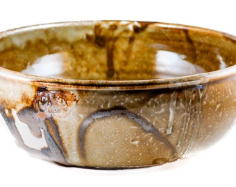 Bowl. Pottery. Large Hand-Thrown Ceramic Bowl In Earth Tones.