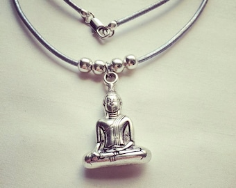 Yoga Leather Necklace | Buddha | Purple | Silver | Necklace | Mindfulnessnecklace | Leather Cord
