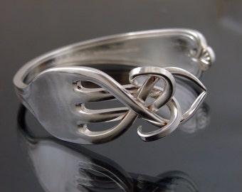 Vintage Silver Plated Fork Bangle Bracelet celtic design Handmade