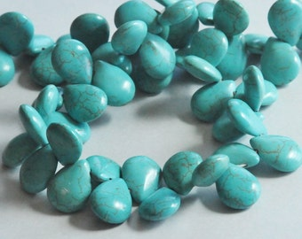 Turquoise Howlite Beads, Teardrop Beads, Top Drilled Beads, Pear Shaped, 14x19mm, One Full Strand, 15 inches, Fast Shipping from USA