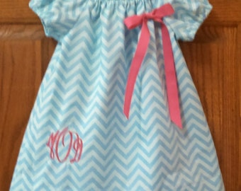 Monogrammed Peasant Dress for Baby/Toddler/Girl, Spring Dress, Easter Dress, Summer Dress, Back to School