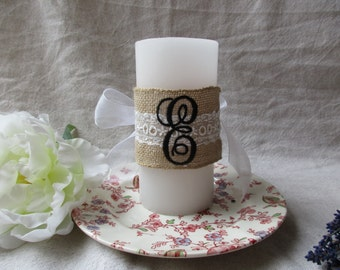 Embroidered Candle Wrap with Your Initial Monogrammed on Burlap and Lace