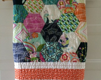 Baby Quilt with Petal and Plume Fabric - SALE