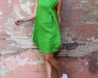 Green Linen Dress With Pockets