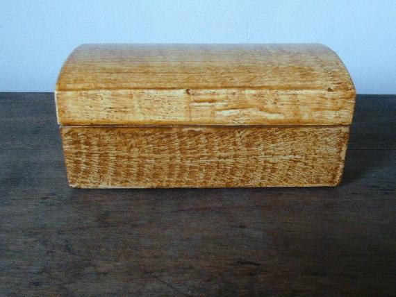 Vinegar painted wooden box in ocher