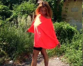 coral tunic/neon blouse/everyday tunic/