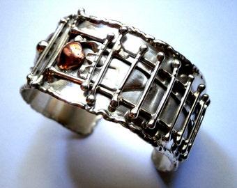 Sterling Silver Cuff Bracelet - Adjustable Melted Design