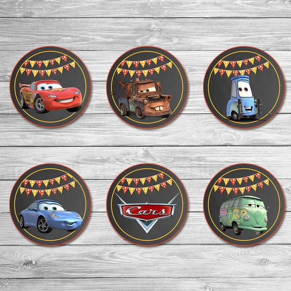 Disney Cars Cupcake Toppers Chalkboard - Cars Stickers - Disney Cars Printables - Cars Party Favor - Cars Happy Birthday - Cars Birthday