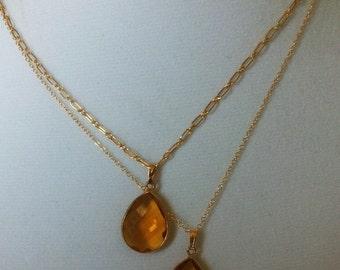 Citrine Teardrop Pendant Necklace Amber Gemstone wire bezel teardrop Necklace November Birthstone Necklace 22k Gold 925 Sterling Silver