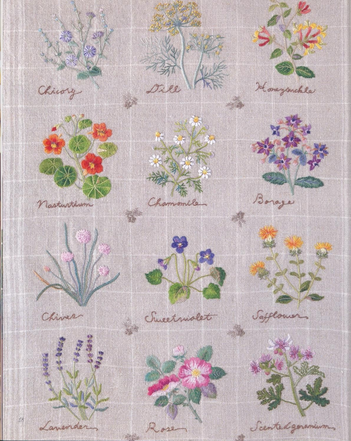 Japanese Herb Embroidery Hand stitches Flowers ebook Patterns