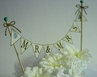 Wedding Cake BANNER Wedding Cake Topper Mr and Mrs Rustic Wedding Topper