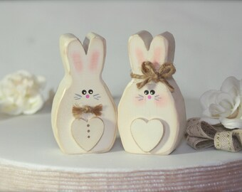 Wedding Cake Topper Rustic Bunnies Woodland Wedding Rabbits