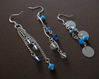 "Set of 3 Crystal Earrings - ""Three Strands of Winter"""