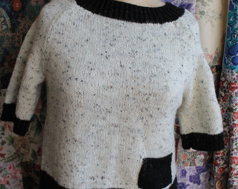 Hand knitted black and white short jumperREF215