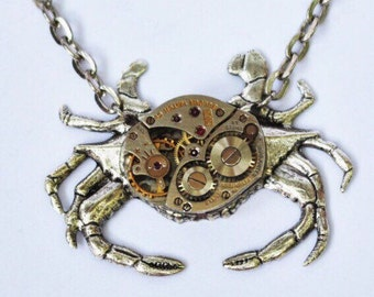 Steampunk Crab Antique Silver Necklace - Jeweled Watch Movement - Antique Silver - Neo Victorian