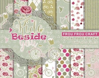 Bike Flowers Digital Paper Pack Instant Download Bicycle Roses Shabby Chic Vintage Rustic Birds Pink Green Mint Damask Dots 6x6 inches