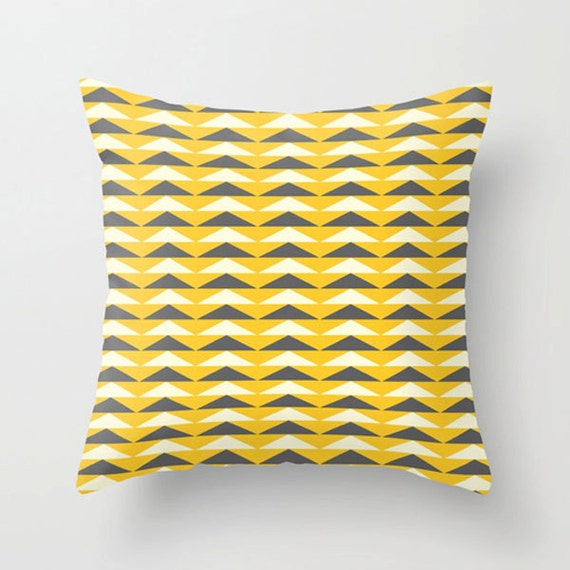 Triangle decorative pillows in green blue orange by moddesign4u