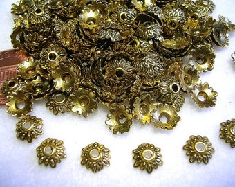 8mm Antiqued Gold Bead Caps Gold Flower Bead Caps Antiqued Gold Jewelry 100 Bead Caps Antqued Gold Bling Gold Accents Pretty Ornate Flowers