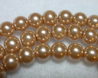 Dusty Peach Pearls 8mm Glass Pearls Bronze Round Glass Pearls Very Shimmery Pearl Rounds Champagne 8mm Pearl Rounds 50 Pearl Rounds