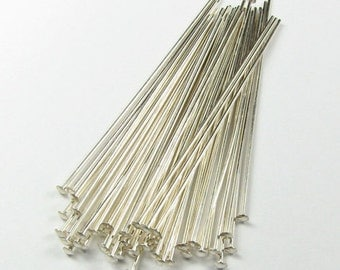 100 Silver Plate 21 Guage 3 inch headpins head pins.  Stout Silver Head Pins 3 inch Sticks Flexable but Strong Wire Wrapping Great Quality