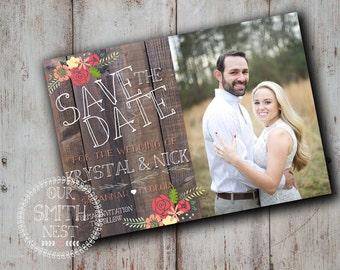 Save the Date / Rustic Love Card DIY PRINTABLE Customizable Digital Print