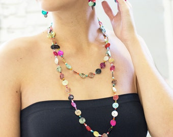 Handcrafted Colorful Multi Color Shell Button Necklace