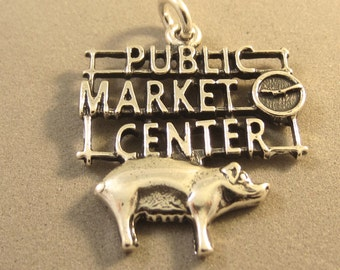 Sterling Silver PIKE PLACE Seattle Public Market Center Sign Charm Pendant Washington Fish Pig Waterfront Pier .925 Sterling Silver New NW10