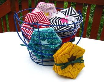 Custom Coasters: Folded Fabric Flowers / Set of 6
