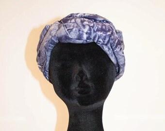 50s original vintage turban hat denim blue