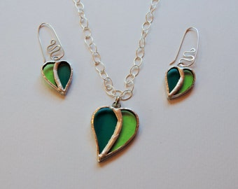 Colorful necklace with glass and silver leaf pendant, stained glass