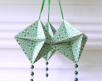 Green Silver Origami Decorations - Christmas Ornaments Handmade Origami - Paper Christmas Decorations -  Unique Ornaments