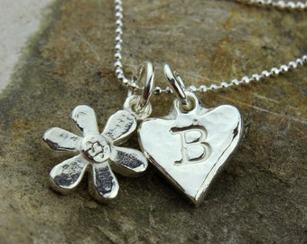 Personalised Solid Silver Daisy Charm Necklace