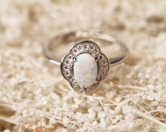 925 Sterling Silver opal ring, Opal Gemstone ring, Opal ring, October Birthstone ring, Opal Crystal ring, Adjustable ring