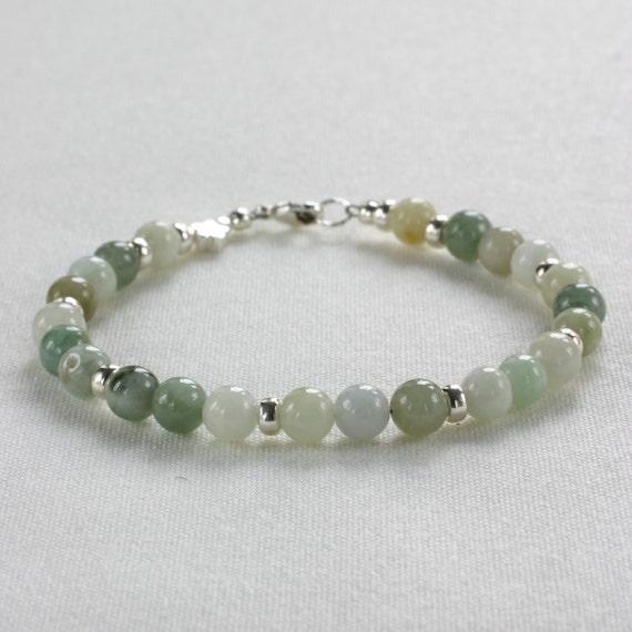 Genuine Jade Beads: Green Jade Beaded Bracelet Genuine Gemstone By TheGemString