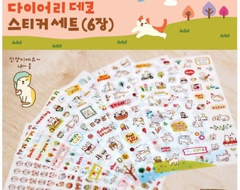 Jetoy Cute Little Cat Diary Planner Scrapbooking Decoration Stickers 6 Sheets TMP-SA-013