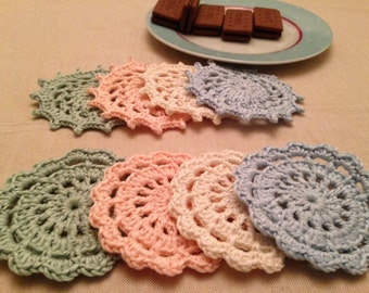 Crochet coasters. Set of 8 handmade 100% cotton sorbet coloured coasters
