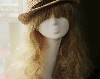 Lafite grass knitting hat Hats for men and women Edge straight flat straw hat Both men and women