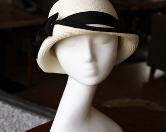Straw hat Ribbon bow Basin of dome cap hat The summer sun hat The fisherman hat Folding sun straw hat